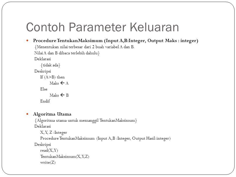 Contoh Parameter Keluaran Procedure TentukanMaksimum (Input A,B:Integer, Output Maks : integer) {Menentukan nilai terbesar dari 2 buah variabel A dan