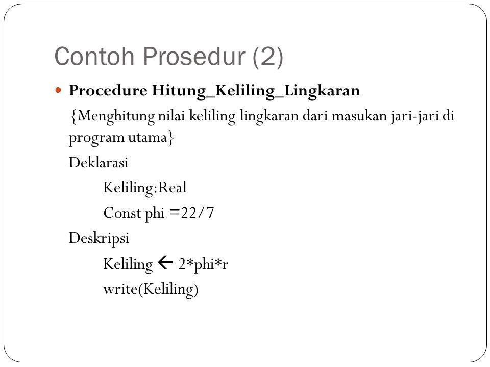 Contoh Prosedur (2) Procedure Hitung_Keliling_Lingkaran {Menghitung nilai keliling lingkaran dari masukan jari-jari di program utama} Deklarasi Kelili
