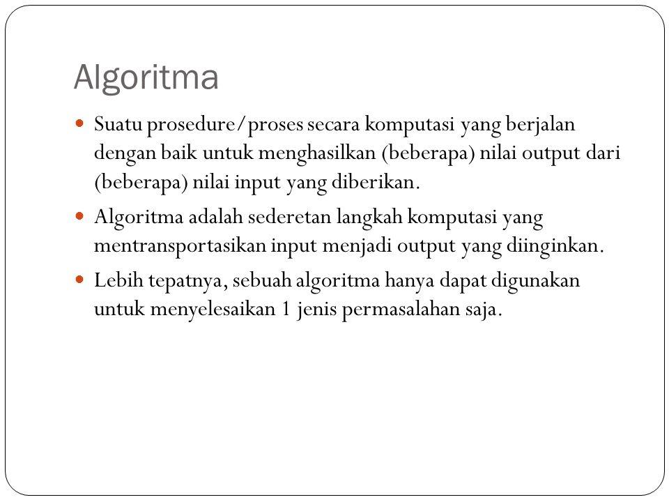 Elemen – elemen : Input : data yang akan diolah Proses : tahap pengolahan data (logika proses dan model matematika yang sesuai) Output : data hasil proses Proses OutputInput