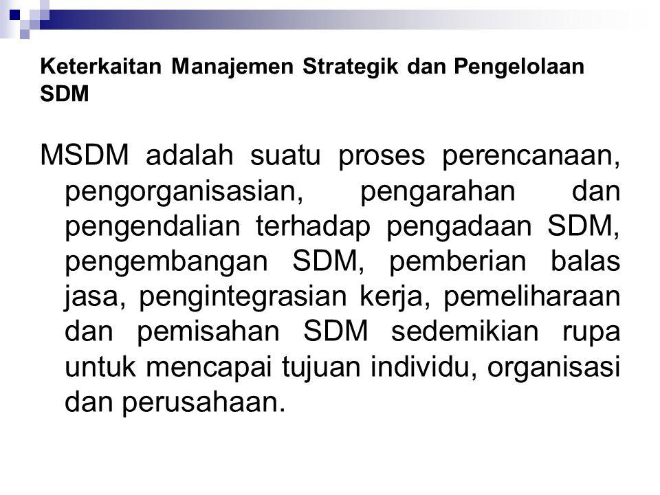 Keterkaitan Manajemen Strategik dan Pengelolaan SDM MSDM adalah suatu proses perencanaan, pengorganisasian, pengarahan dan pengendalian terhadap penga