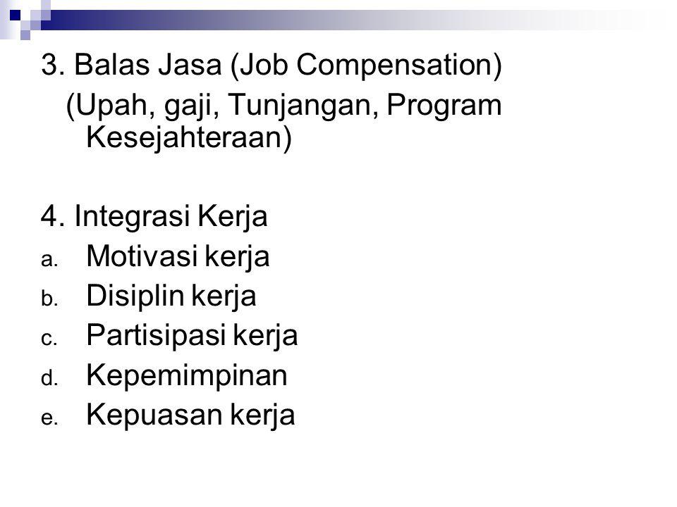 3. Balas Jasa (Job Compensation) (Upah, gaji, Tunjangan, Program Kesejahteraan) 4. Integrasi Kerja a. Motivasi kerja b. Disiplin kerja c. Partisipasi