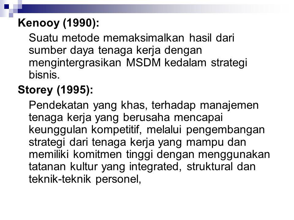 Kenooy (1990): Suatu metode memaksimalkan hasil dari sumber daya tenaga kerja dengan mengintergrasikan MSDM kedalam strategi bisnis. Storey (1995): Pe