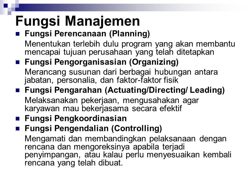 Fungsi Manajemen Fungsi Perencanaan (Planning) Menentukan terlebih dulu program yang akan membantu mencapai tujuan perusahaan yang telah ditetapkan Fu