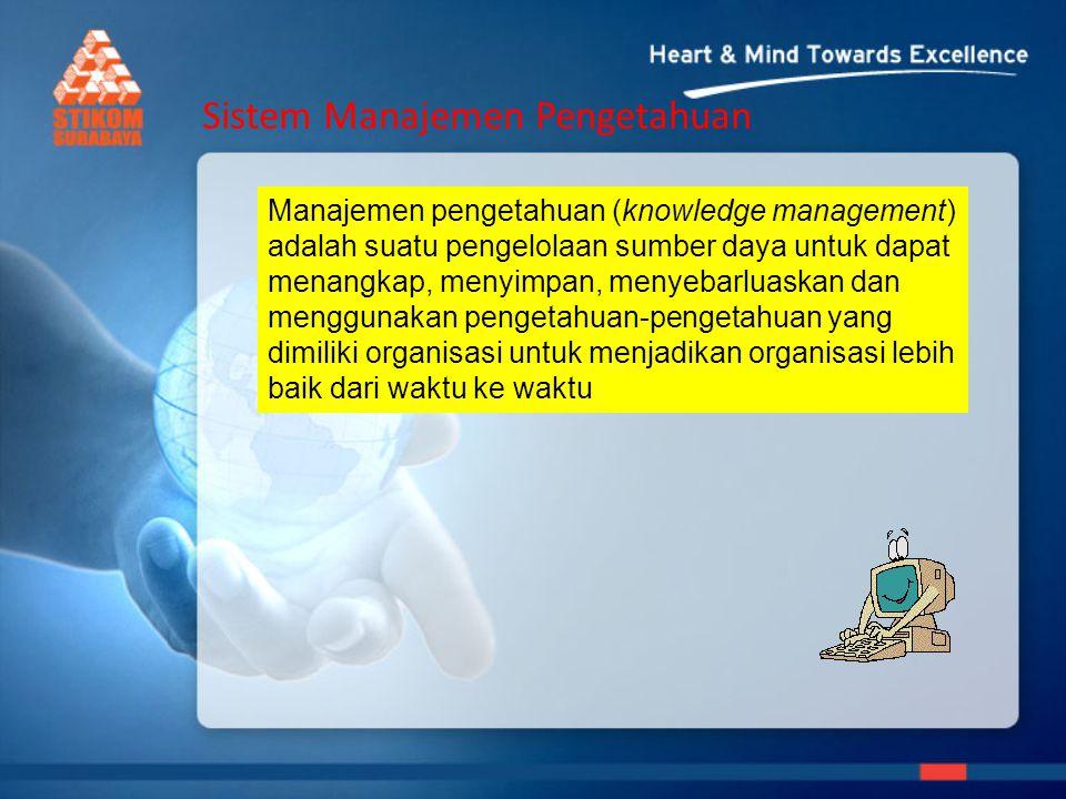 Sistem Manajemen Pengetahuan Manajemen pengetahuan (knowledge management) adalah suatu pengelolaan sumber daya untuk dapat menangkap, menyimpan, menyebarluaskan dan menggunakan pengetahuan-pengetahuan yang dimiliki organisasi untuk menjadikan organisasi lebih baik dari waktu ke waktu