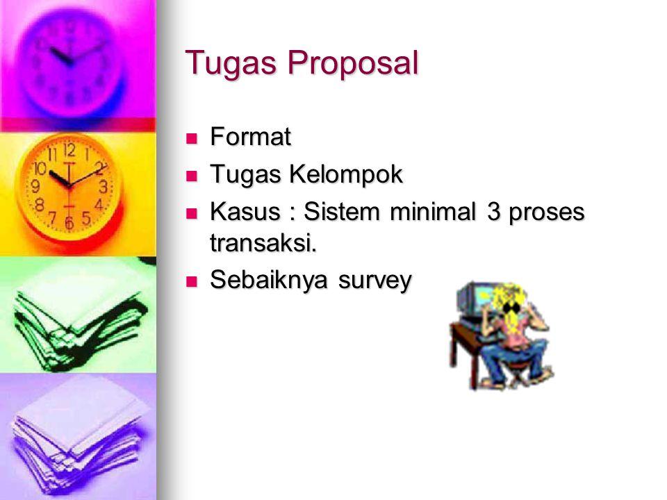 Tugas Proposal Format Format Tugas Kelompok Tugas Kelompok Kasus : Sistem minimal 3 proses transaksi. Kasus : Sistem minimal 3 proses transaksi. Sebai