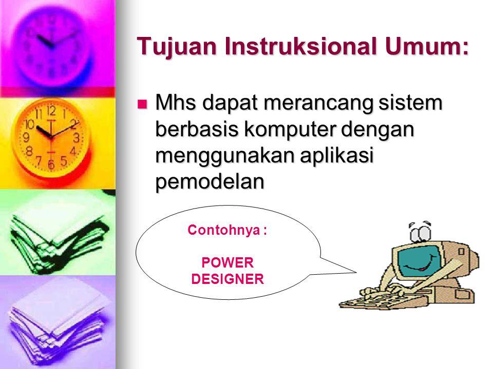 Tujuan Instruksional Umum: Mhs dapat merancang sistem berbasis komputer dengan menggunakan aplikasi pemodelan Mhs dapat merancang sistem berbasis komp