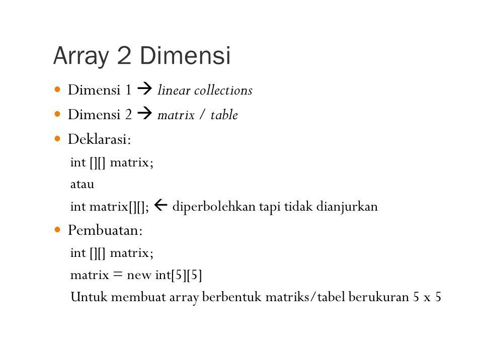 Array 2 Dimensi Dimensi 1  linear collections Dimensi 2  matrix / table Deklarasi: int [][] matrix; atau int matrix[][];  diperbolehkan tapi tidak dianjurkan Pembuatan: int [][] matrix; matrix = new int[5][5] Untuk membuat array berbentuk matriks/tabel berukuran 5 x 5