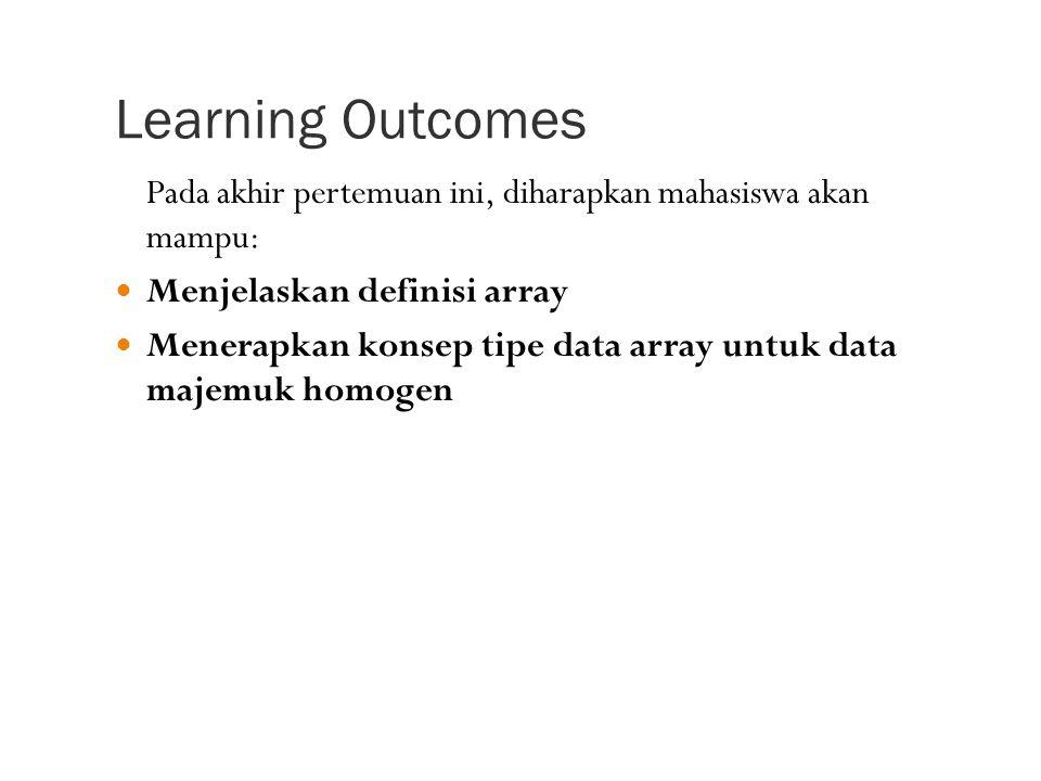 Learning Outcomes Pada akhir pertemuan ini, diharapkan mahasiswa akan mampu: Menjelaskan definisi array Menerapkan konsep tipe data array untuk data majemuk homogen