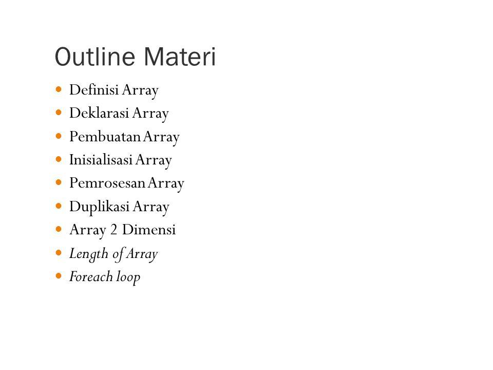 Duplikasi Array Cara yang benar: Menggunakan perulangan Menggunakan arraycopy dari System Contoh dengan perulangan: int [] sourceArray = {2, 3, 1, 5, 10}; int [] targetArray = new int[5]; for( int i=0 ; i<5 ; i++ ) targetArray[i] = sourceArray[i]; Contoh dengan arraycopy: System.arraycopy(sourceArray, 0, targetArray, 0, 5); Keterangan: 0  index awal untuk sourceArray dan targetArray 5  jumlah data yang akan dicopy