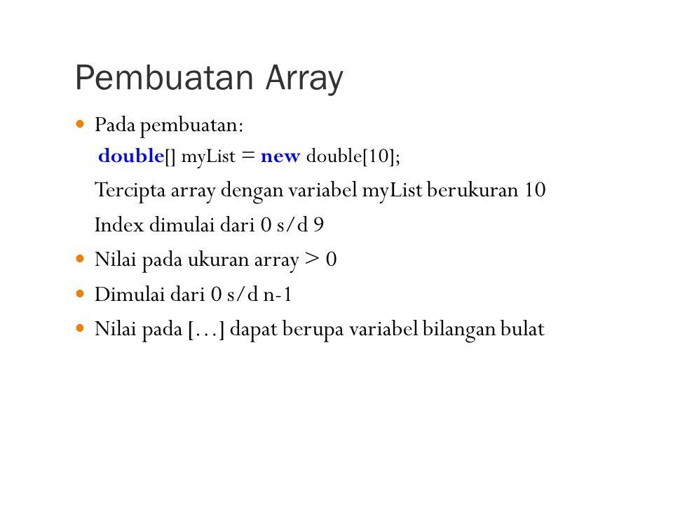 Pembuatan Array Pada pembuatan: double[] myList = new double[10]; Tercipta array dengan variabel myList berukuran 10 Index dimulai dari 0 s/d 9 Nilai pada ukuran array > 0 Dimulai dari 0 s/d n-1 Nilai pada […] dapat berupa variabel bilangan bulat