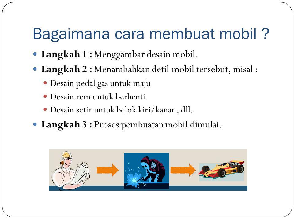 Bagaimana cara membuat mobil ? Langkah 1 : Menggambar desain mobil. Langkah 2 : Menambahkan detil mobil tersebut, misal : Desain pedal gas untuk maju