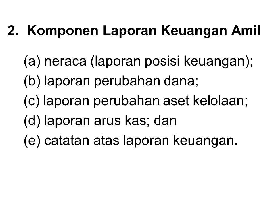 2. Komponen Laporan Keuangan Amil (a) neraca (laporan posisi keuangan); (b) laporan perubahan dana; (c) laporan perubahan aset kelolaan; (d) laporan a