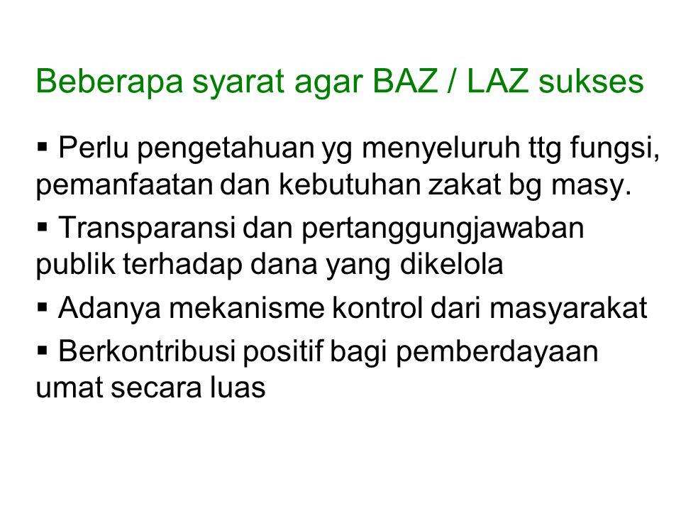 Beberapa syarat agar BAZ / LAZ sukses  Perlu pengetahuan yg menyeluruh ttg fungsi, pemanfaatan dan kebutuhan zakat bg masy.  Transparansi dan pertan
