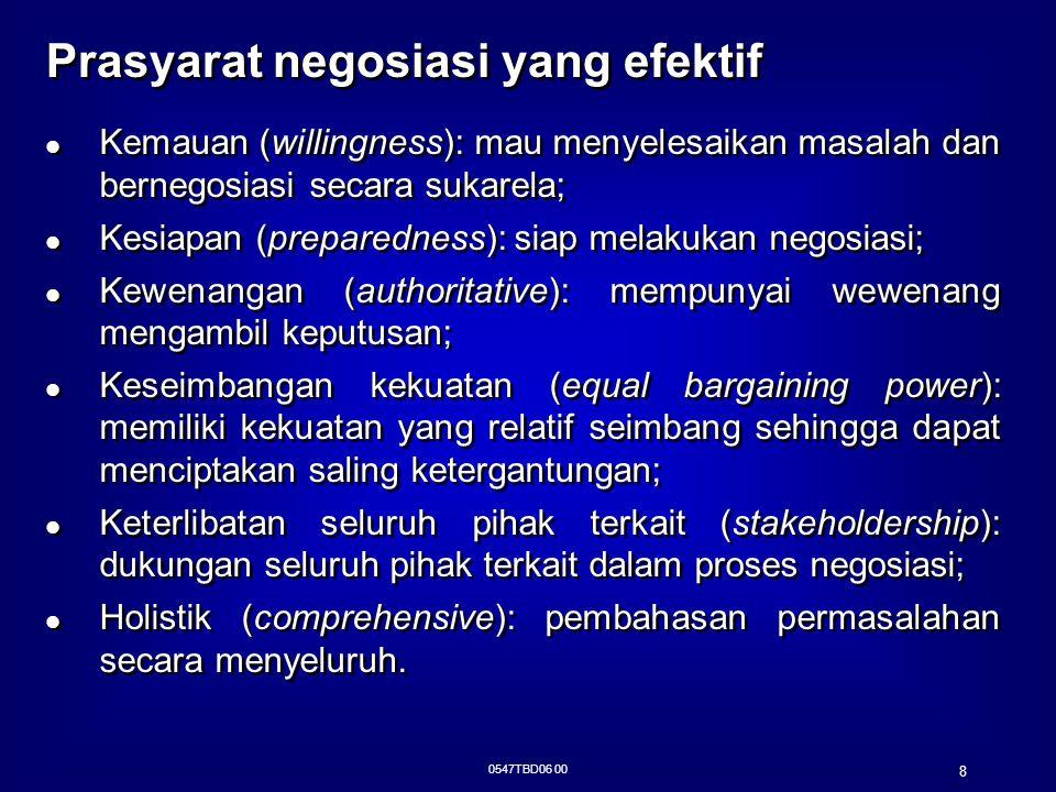 0547TBD06 00 8 Prasyarat negosiasi yang efektif Kemauan (willingness): mau menyelesaikan masalah dan bernegosiasi secara sukarela; Kesiapan (preparedn