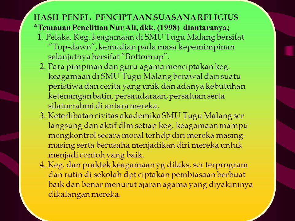 """HASIL PENEL. PENCIPTAAN SUASANA RELIGIUS *Temauan Penelitian Nur Ali, dkk. (1998) diantaranya; 1. Pelaks. Keg. keagamaan di SMU Tugu Malang bersifat """""""