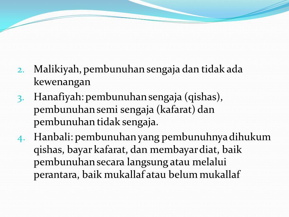 2. Malikiyah, pembunuhan sengaja dan tidak ada kewenangan 3. Hanafiyah: pembunuhan sengaja (qishas), pembunuhan semi sengaja (kafarat) dan pembunuhan