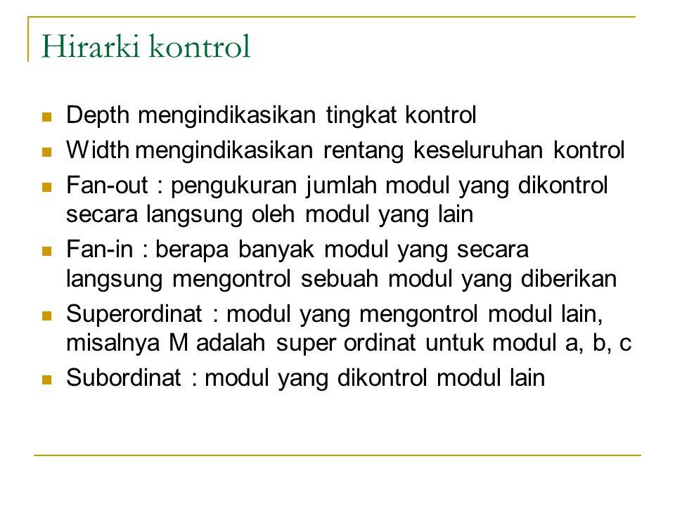 Hirarki kontrol Depth mengindikasikan tingkat kontrol Width mengindikasikan rentang keseluruhan kontrol Fan-out : pengukuran jumlah modul yang dikontrol secara langsung oleh modul yang lain Fan-in : berapa banyak modul yang secara langsung mengontrol sebuah modul yang diberikan Superordinat : modul yang mengontrol modul lain, misalnya M adalah super ordinat untuk modul a, b, c Subordinat : modul yang dikontrol modul lain