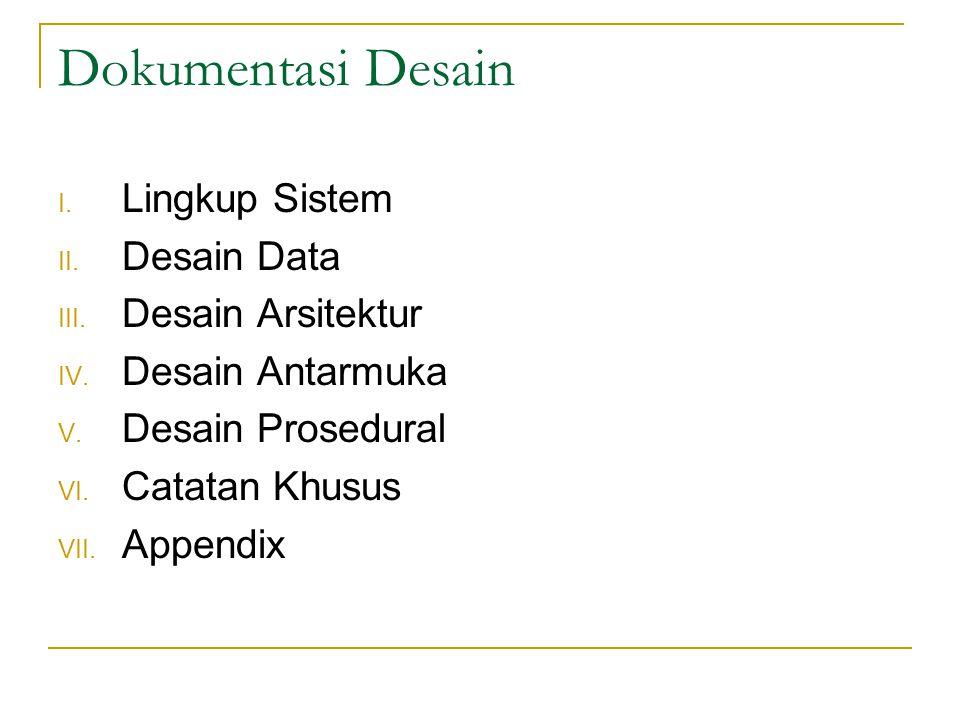 Dokumentasi Desain I.Lingkup Sistem II. Desain Data III.