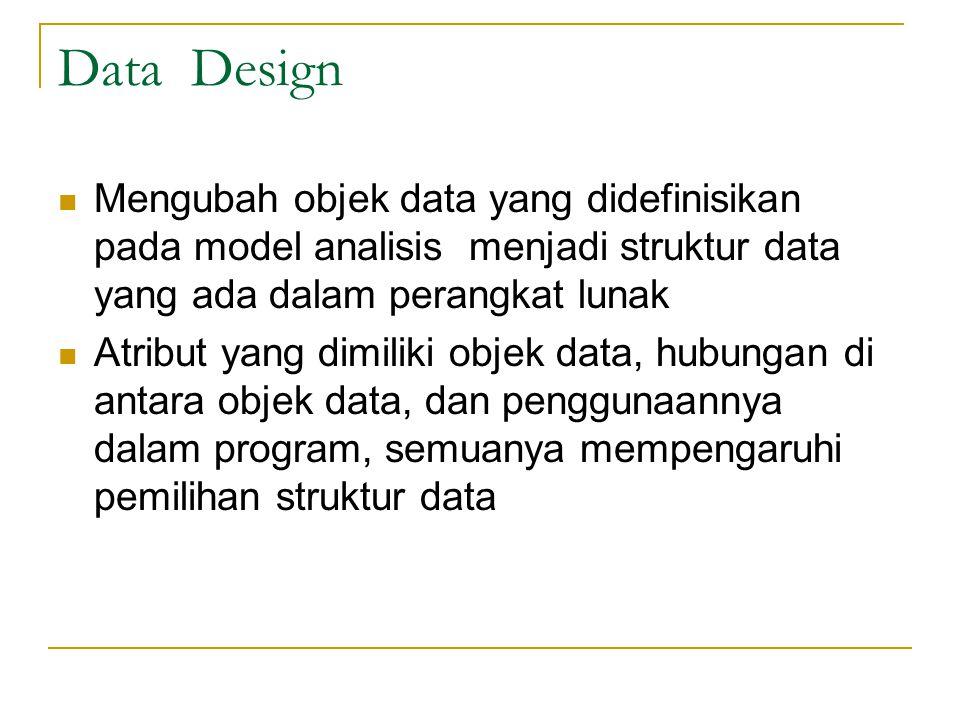 Data Design Mengubah objek data yang didefinisikan pada model analisis menjadi struktur data yang ada dalam perangkat lunak Atribut yang dimiliki objek data, hubungan di antara objek data, dan penggunaannya dalam program, semuanya mempengaruhi pemilihan struktur data