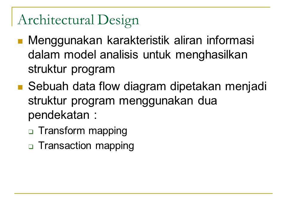 Architectural Design Menggunakan karakteristik aliran informasi dalam model analisis untuk menghasilkan struktur program Sebuah data flow diagram dipetakan menjadi struktur program menggunakan dua pendekatan :  Transform mapping  Transaction mapping