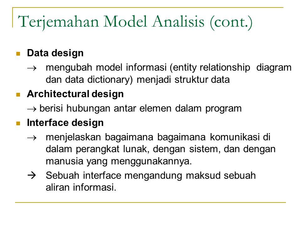 Terjemahan Model Analisis (cont.) Procedural design  mengubah elemen struktural dari arsitektur program menjadi deskripsi prosedural dari komponen perangkat lunak