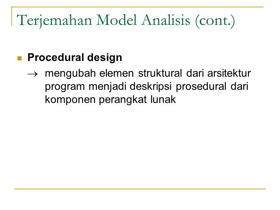 Petunjuk Dalam Melakukan Desain Sebuah desain harus menunjukkan organisasi secara hirarkis Sebuah desain harus bersifat modular; jadi, sebuah perangkat lunak seharusnya dapat dibagi-bagi secara lojik menjadi beberapa elemen yang melakukan fungsi atau subfungsi secara spesifik Sebuah desain harus mengandung abstraksi data dan prosedural Sebuah desain harus mengarah pada modul- modul (prosedur atau subrutin) yang menunjukkan karakteristik fungsional