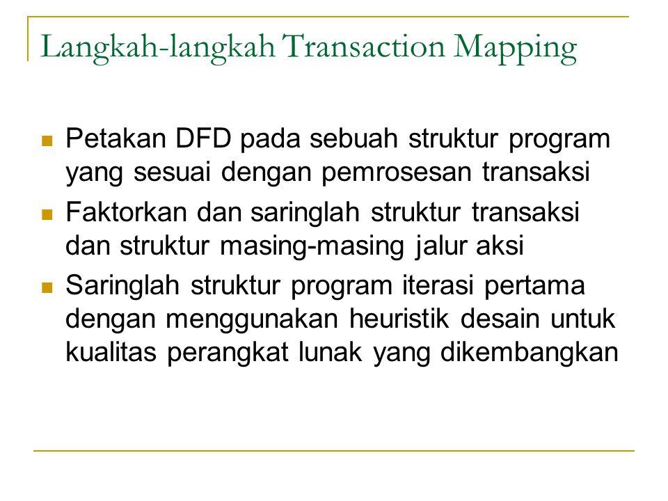 Langkah-langkah Transaction Mapping Petakan DFD pada sebuah struktur program yang sesuai dengan pemrosesan transaksi Faktorkan dan saringlah struktur transaksi dan struktur masing-masing jalur aksi Saringlah struktur program iterasi pertama dengan menggunakan heuristik desain untuk kualitas perangkat lunak yang dikembangkan