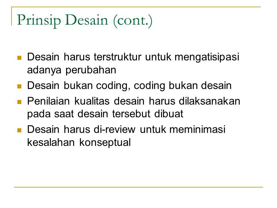 Prinsip Desain (cont.) Desain harus terstruktur untuk mengatisipasi adanya perubahan Desain bukan coding, coding bukan desain Penilaian kualitas desain harus dilaksanakan pada saat desain tersebut dibuat Desain harus di-review untuk meminimasi kesalahan konseptual