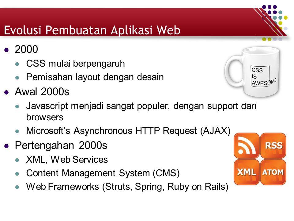 Evolusi Pembuatan Aplikasi Web 2000 CSS mulai berpengaruh Pemisahan layout dengan desain Awal 2000s Javascript menjadi sangat populer, dengan support