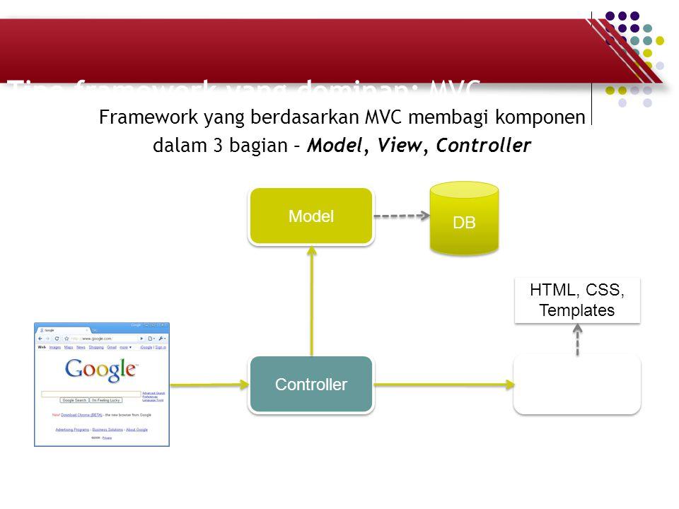 Tipe framework yang dominan: MVC Framework yang berdasarkan MVC membagi komponen dalam 3 bagian – Model, View, Controller Controller Template Model DB