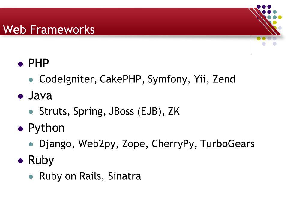 Web Frameworks PHP CodeIgniter, CakePHP, Symfony, Yii, Zend Java Struts, Spring, JBoss (EJB), ZK Python Django, Web2py, Zope, CherryPy, TurboGears Rub