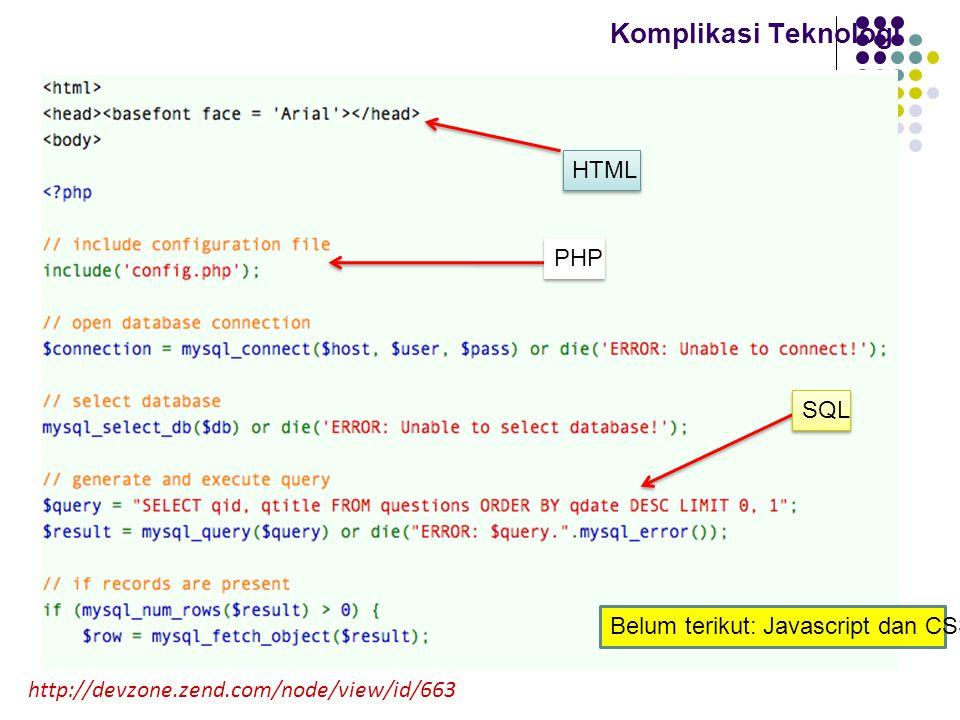 Komplikasi Teknologi HTML PHP http://devzone.zend.com/node/view/id/663 SQL Belum terikut: Javascript dan CSS