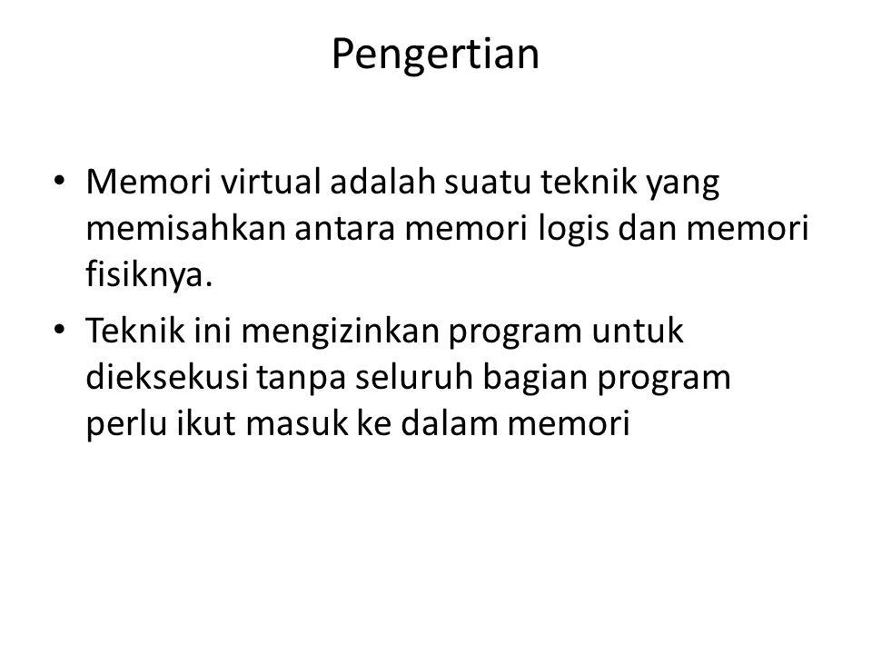 Pengertian Memori virtual adalah suatu teknik yang memisahkan antara memori logis dan memori fisiknya.