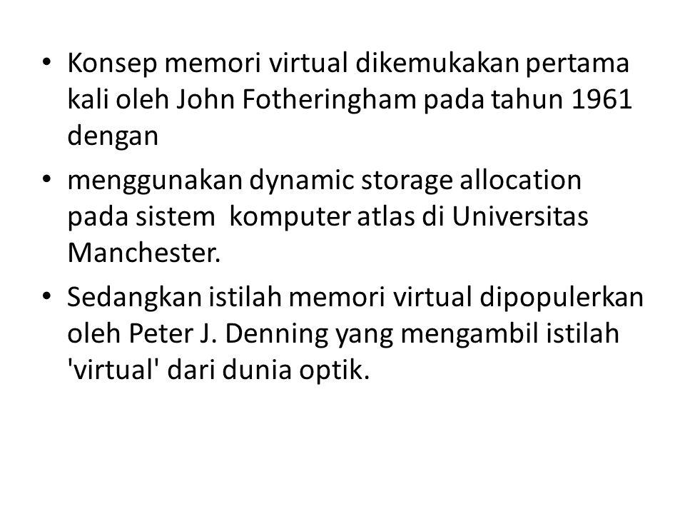 Konsep memori virtual dikemukakan pertama kali oleh John Fotheringham pada tahun 1961 dengan menggunakan dynamic storage allocation pada sistem komputer atlas di Universitas Manchester.
