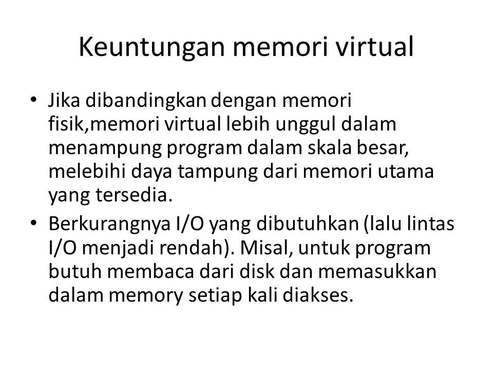 Keuntungan memori virtual Jika dibandingkan dengan memori fisik,memori virtual lebih unggul dalam menampung program dalam skala besar, melebihi daya tampung dari memori utama yang tersedia.