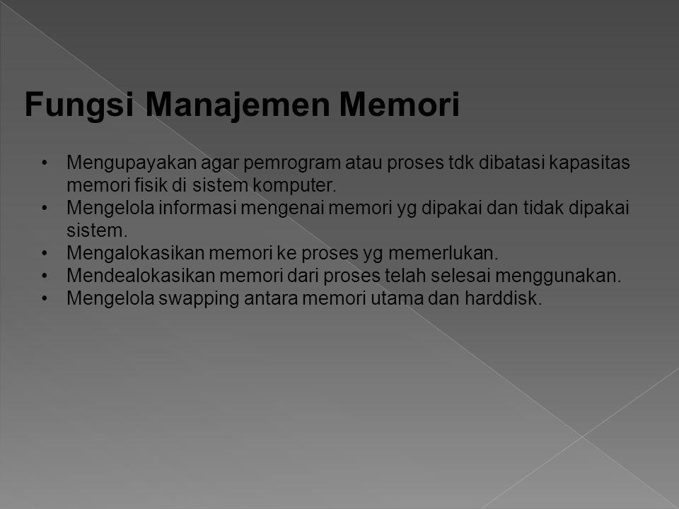 Mengupayakan agar pemrogram atau proses tdk dibatasi kapasitas memori fisik di sistem komputer. Mengelola informasi mengenai memori yg dipakai dan tid
