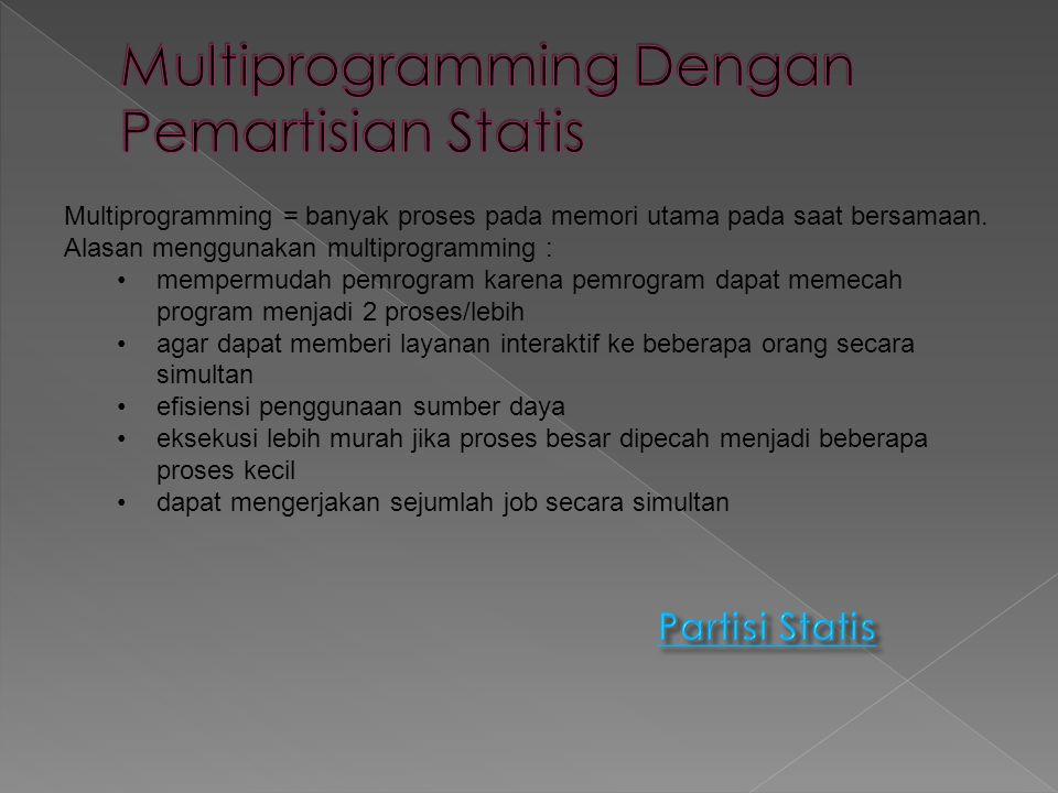 Memori dibagi menjadi sejumlah partisi tetap.Pada partisi tersebut proses- proses ditempatkan.