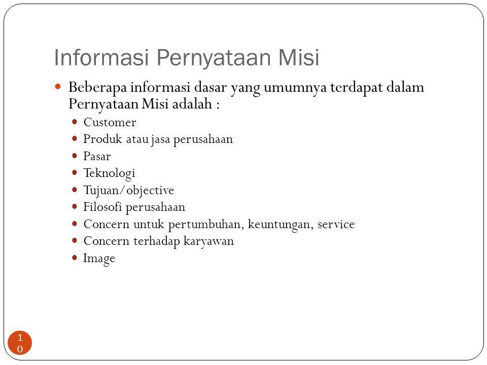 Informasi Pernyataan Misi 10 Beberapa informasi dasar yang umumnya terdapat dalam Pernyataan Misi adalah : Customer Produk atau jasa perusahaan Pasar