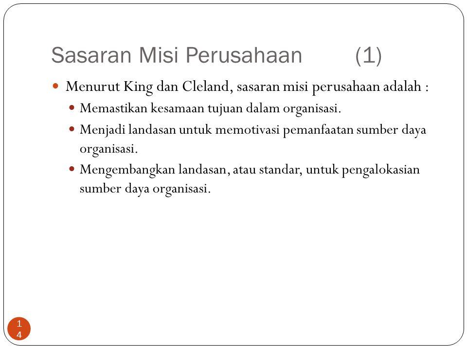 Sasaran Misi Perusahaan (1) 14 Menurut King dan Cleland, sasaran misi perusahaan adalah : Memastikan kesamaan tujuan dalam organisasi. Menjadi landasa