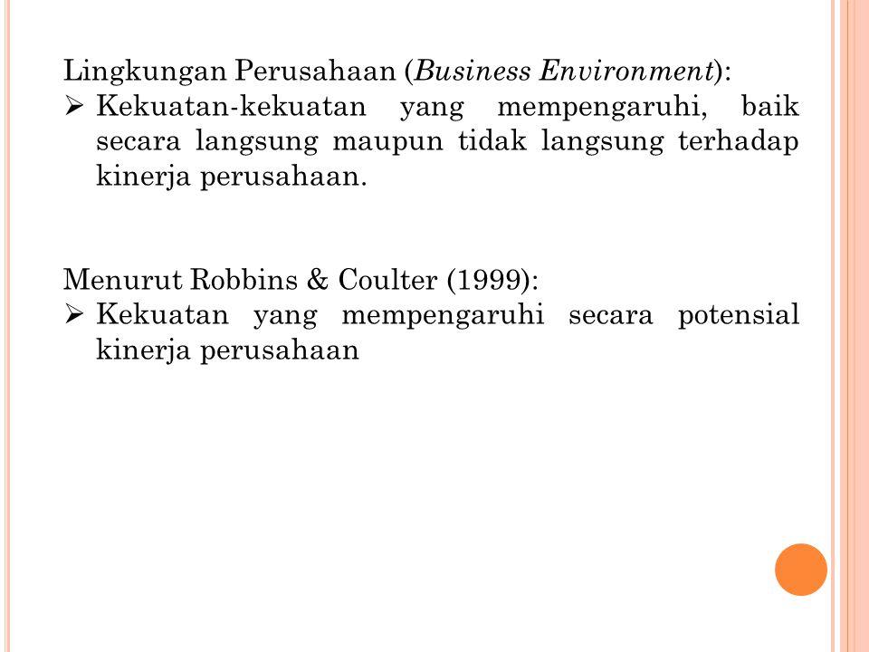 Lingkungan Perusahaan ( Business Environment ):  Kekuatan-kekuatan yang mempengaruhi, baik secara langsung maupun tidak langsung terhadap kinerja per