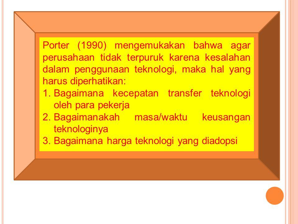 Porter (1990) mengemukakan bahwa agar perusahaan tidak terpuruk karena kesalahan dalam penggunaan teknologi, maka hal yang harus diperhatikan: 1.Bagai
