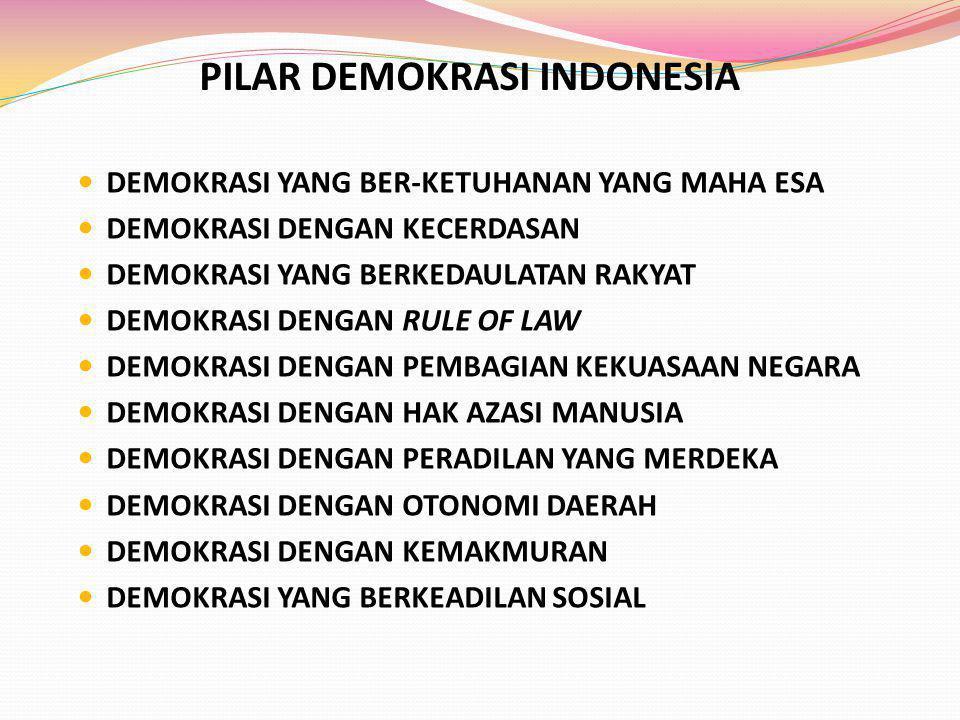 PILAR DEMOKRASI INDONESIA DEMOKRASI YANG BER-KETUHANAN YANG MAHA ESA DEMOKRASI DENGAN KECERDASAN DEMOKRASI YANG BERKEDAULATAN RAKYAT DEMOKRASI DENGAN