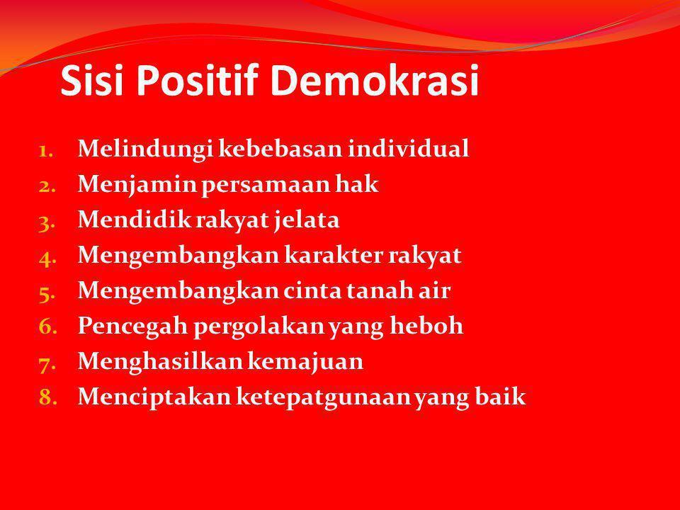 Sisi Positif Demokrasi 1. Melindungi kebebasan individual 2. Menjamin persamaan hak 3. Mendidik rakyat jelata 4. Mengembangkan karakter rakyat 5. Meng