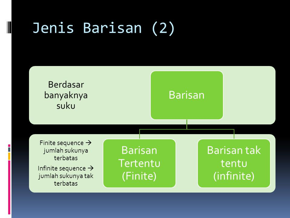 Jenis Barisan (2) Finite sequence  jumlah sukunya terbatas Infinite sequence  jumlah sukunya tak terbatas Berdasar banyaknya suku Barisan Barisan Tertentu (Finite) Barisan tak tentu (infinite)
