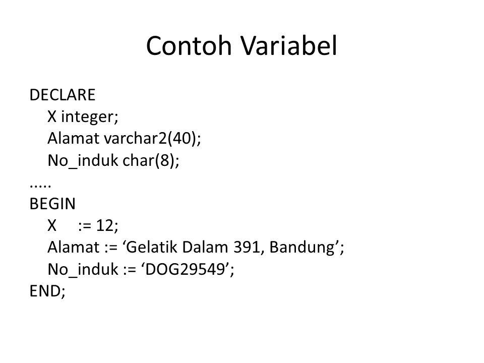 Contoh Variabel DECLARE X integer; Alamat varchar2(40); No_induk char(8);..... BEGIN X:= 12; Alamat := 'Gelatik Dalam 391, Bandung'; No_induk := 'DOG2