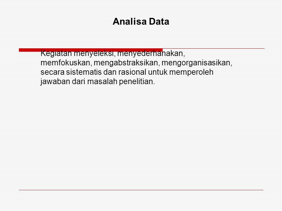 Analisa Data Kegiatan menyeleksi, menyederhanakan, memfokuskan, mengabstraksikan, mengorganisasikan, secara sistematis dan rasional untuk memperoleh j