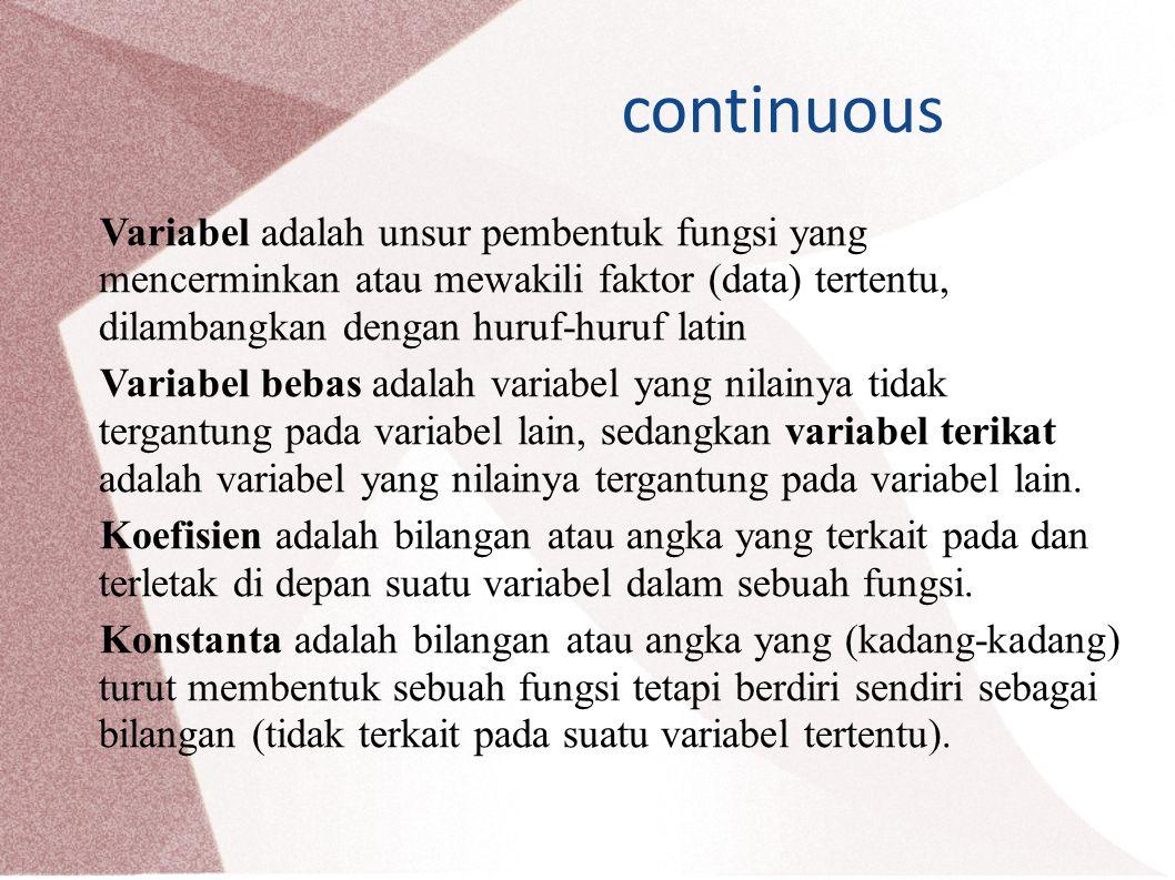 continuous Variabel adalah unsur pembentuk fungsi yang mencerminkan atau mewakili faktor (data) tertentu, dilambangkan dengan huruf-huruf latin Variabel bebas adalah variabel yang nilainya tidak tergantung pada variabel lain, sedangkan variabel terikat adalah variabel yang nilainya tergantung pada variabel lain.