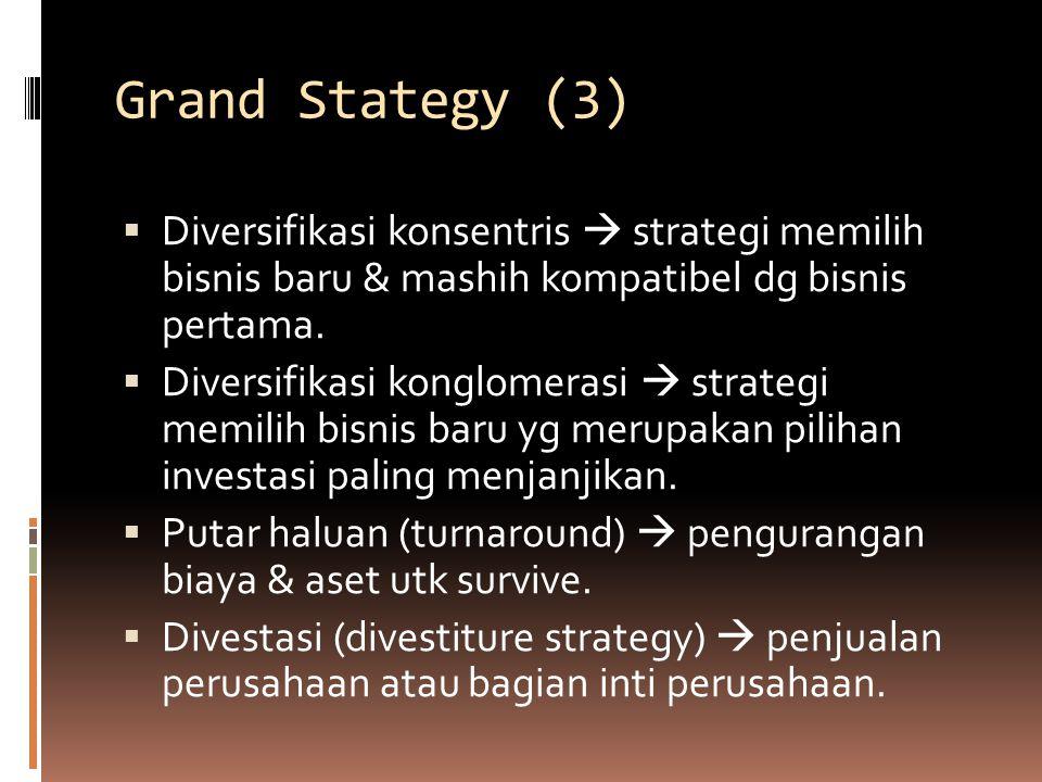 Grand Stategy (3)  Diversifikasi konsentris  strategi memilih bisnis baru & mashih kompatibel dg bisnis pertama.  Diversifikasi konglomerasi  stra