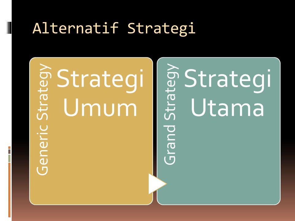 Alternatif Strategi Generic Strategy Strategi Umum Grand Strategy Strategi Utama