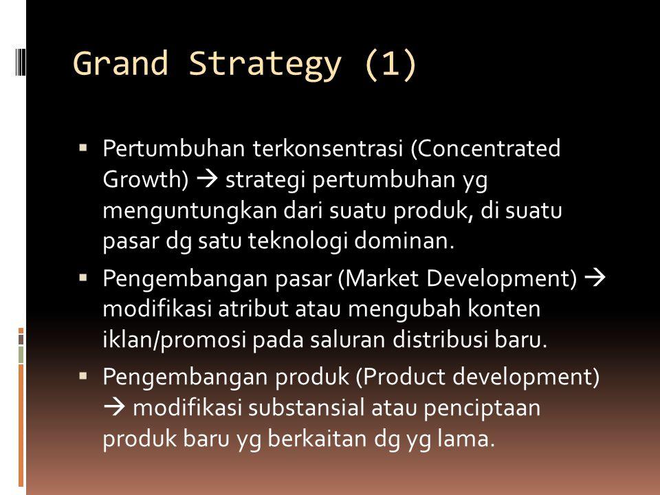Grand Strategy (1)  Pertumbuhan terkonsentrasi (Concentrated Growth)  strategi pertumbuhan yg menguntungkan dari suatu produk, di suatu pasar dg sat